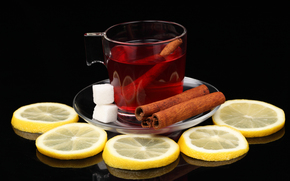 saucer, mug, tea, drink, sugar, cinnamon, lemon, reflection, table