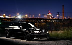 BMW, negro, Ciudad, noche, reflexiones, BMW