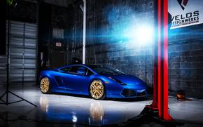 ламборджини, ламборгини, галлардо, синяя, бокс, подъёмник, свет, блик, Lamborghini