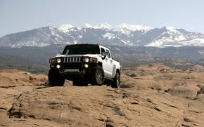 Hammer, jeep, SUV, pickup, white, rocks, Mountains, sky, Hummer