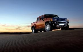 Hammer, jeep, SUV, pickup, orange, sand, sky, Hummer