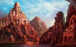 Art, city, India, statue, sculpture, home, dome, lake, rocks