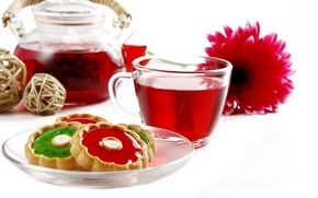 saucer, cookies, tea, Kettle, flower
