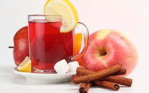 saucer, cup, tea, drink, lemon, sugar, apples. cinnamon, orange