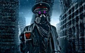 романтика апокалипсиса, арт, капитан, кружка, сердечко, руины, комикс, противогаз, снег, зима