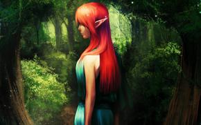 Elf, girl, grove, Trees, Ginger, blue dress, Sparks