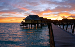 French Polynesia, ocean, Sunrise, bridge