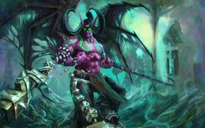 demonio, Cuerno, alas, cadena, rabia