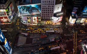 night, city, new york, times square
