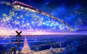 Art, landscape, fantasy, train, metro, in the sky, field, girl, boy, motorcycle, observation, night, Star, move, sign, railroad, lap