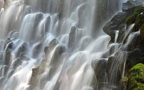 Водопад Рамона, Орегон, камни, мох, потоки, брызги