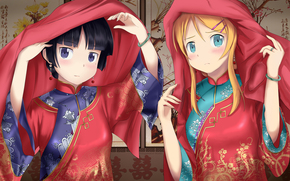 anime, girl, kimono, east, character, mole, confusion, bracelet, shawl, panel, Well, my little sister can not be so sweet