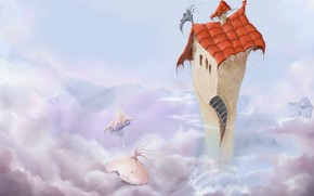 домик, небо, лицо