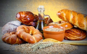 масло, бутылёк, тарелка, зерно, хлеб, булка, кренделя