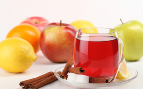 saucer, cup, sugar, cinnamon, slice, lemon, apples, drink, reflection