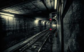 city, Subway, metro, train, Tunnel, light