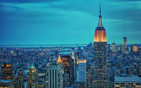 Stadt, New York, New York, Nacht, Beleuchtung, Brooklyn