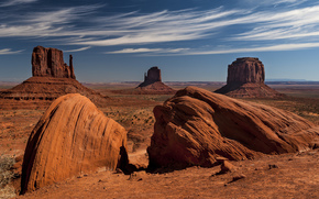 valley, Monument, rocks, desert, sky, clouds