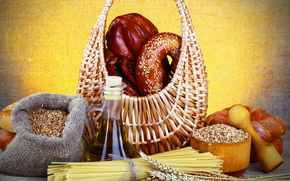 table, basket, oil, bread, pretzel, bag, grain, mortar