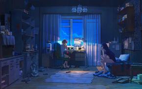 Kunst, Nacht, Zimmer, Mdchen, Girlfriends, Sachen, Computer, Getrnke, Lampe, Regale, Fernseher