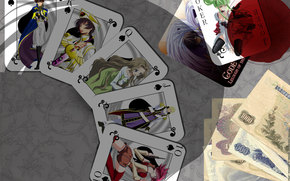 Code Geass, anime, Lelouch Lamperuzh, cards, game, money, goblet, King, lady, Jack, joker