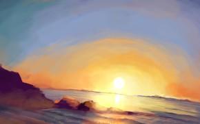 sunset, nature, sea, sun, stones, horizon