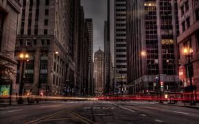 город, дорога, огни, здания, ночь