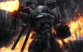 soldier, suit, armor, battle, automatic, shots, sleeves, fire