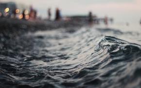 макро, вода, волны, вечер, горизонт, огни, боке