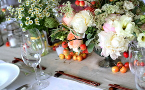 bouquet, vase, table, laying, Chinese sticks, goblet, Daisies, Peonies, Flowers, cherry