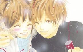 арт, аниме, Это были мы, девушка, парень, радость, веселье, пара, влюбленные, праздник