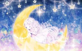 Девочка, малышка, месяц, звезды, грани, спит, бусы. блеск, сверкает