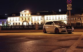 Car, machine, White, Moscow, Audi, Hatchback, sign, column, Audi