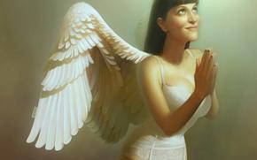 ragazza, angelo, ali, preghiera, luce