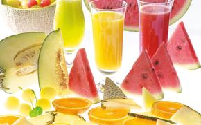 juice, glasses, watermelon, melon, orange