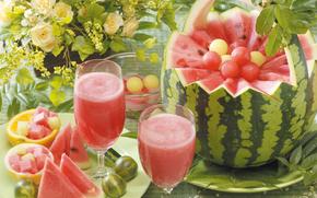 juice, watermelon, glasses, Flowers, gooseberry