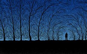 деревья, человек, ветки, синий, черный