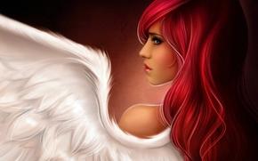Девушка, рыжая, крыло ангела