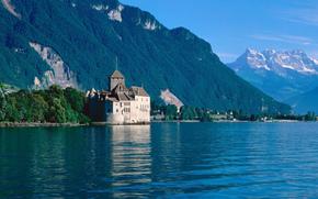 лето, озеро, горы, лес, замок, домики, небо