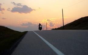 strada, disposizione, sera, motocicletta, nuvole, Pilastri
