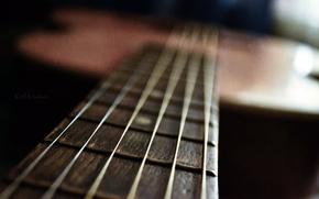 guitar, macro, music, Strings