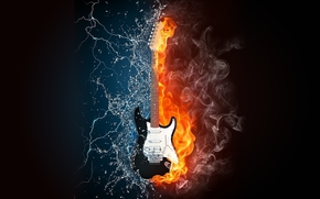 guitar, fire, water, Lightning, music, life