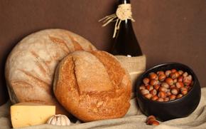 горшочек, орухи, сыр, чеснок, хлеб, бутылка
