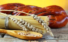 злаки, зерно, хлеб, спагетти, стол