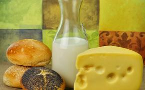 молоко, сыр, булочки, тмин, кунжут