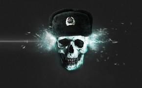Bullets, skull, Ushanka
