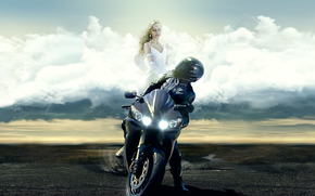 angel, motorcycle, Yamaha, girl