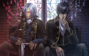 Demons pale cherry, gintama, boys, sit, Flowers, red eyes, window, cigarette, smoke, Katana, sword
