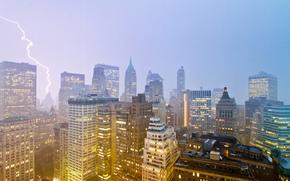 city, new york, New York, lightning