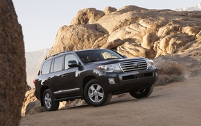 Toyota, Land Cruiser, Cruiser, Land Cruiser, jeep, SUV, front, stones, rocks, sky, toyota